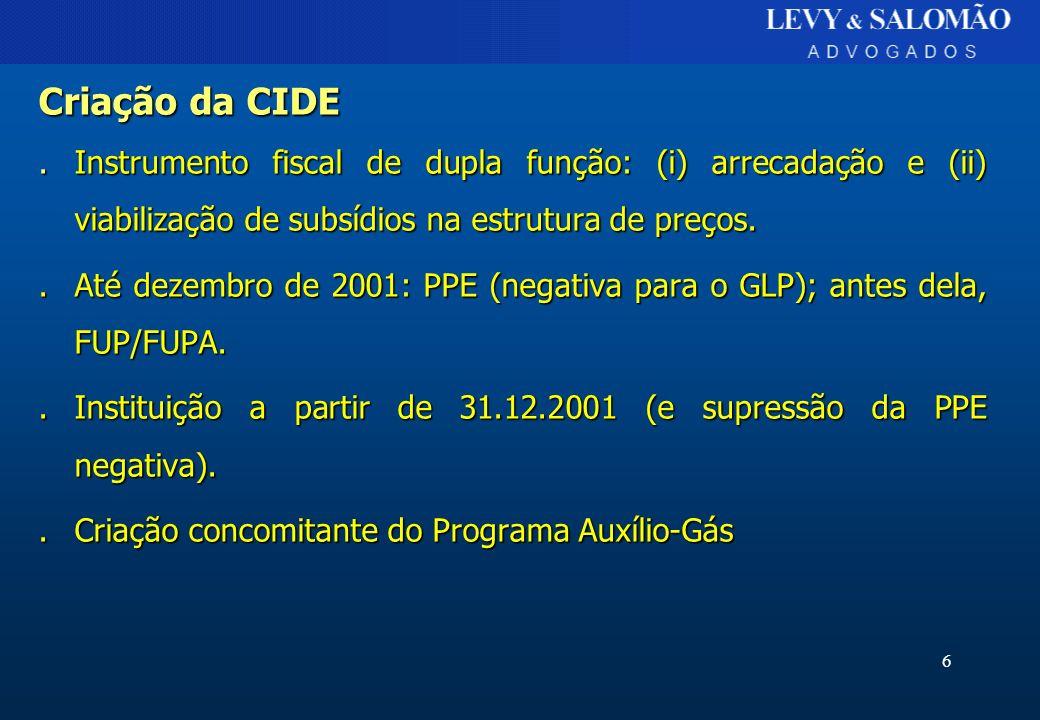6 Criação da CIDE.Instrumento fiscal de dupla função: (i) arrecadação e (ii) viabilização de subsídios na estrutura de preços..Até dezembro de 2001: P