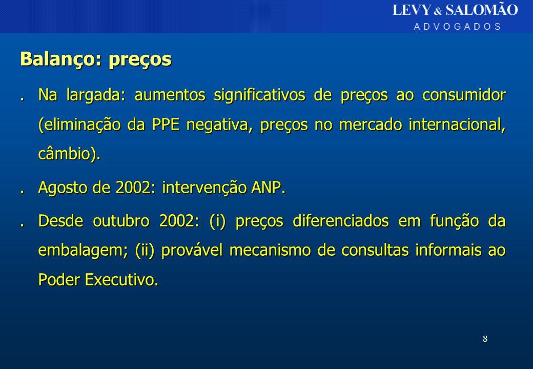 9 Balanço: suprimento.Importações tópicas..Suprimento pela Petrobras..Entraves à diversificação: »Preços Petrobras inferiores a paridade de importação.