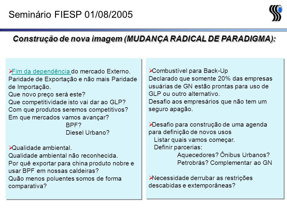 Seminário FIESP 01/08/2005 Fim da dependência do mercado Externo. Fim da dependência Paridade de Exportação e não mais Paridade de Importação. Que nov