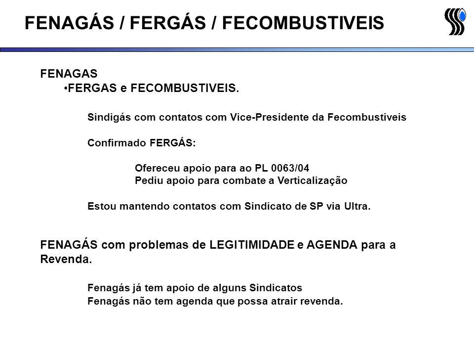 FENAGÁS / FERGÁS / FECOMBUSTIVEIS FENAGAS FERGAS e FECOMBUSTIVEIS. Sindigás com contatos com Vice-Presidente da Fecombustiveis Confirmado FERGÁS: Ofer