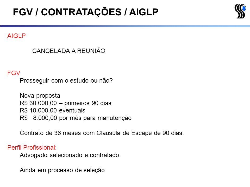 FGV / CONTRATAÇÕES / AIGLP AIGLP CANCELADA A REUNIÃO Perfil Profissional: Advogado selecionado e contratado. Ainda em processo de seleção. FGV Prosseg