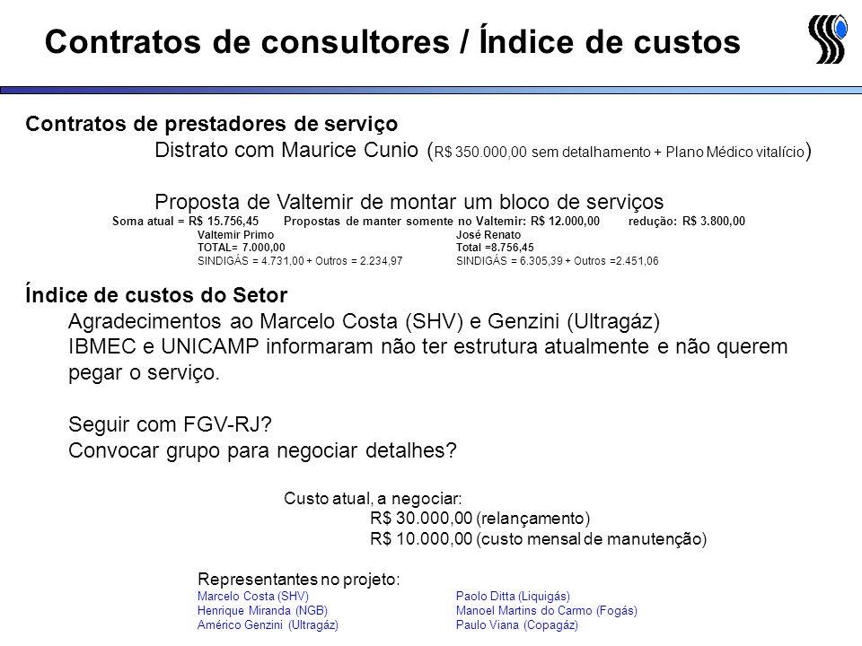 Contratos de consultores / Índice de custos Contratos de prestadores de serviço Distrato com Maurice Cunio ( R$ 350.000,00 sem detalhamento + Plano Mé