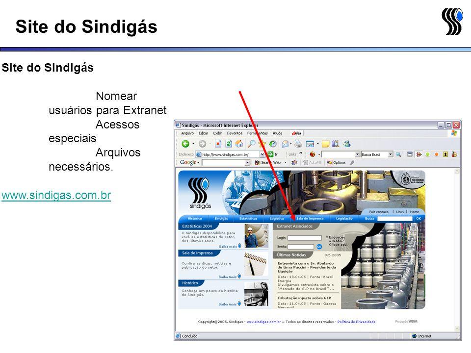 Site do Sindigás Nomear usuários para Extranet Acessos especiais Arquivos necessários. www.sindigas.com.br