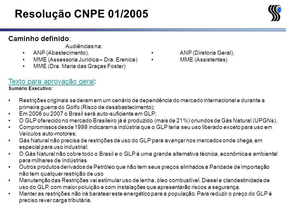 Resolução CNPE 01/2005 Caminho definido: Audiências na: ANP (Abastecimento), ANP (Diretoria Geral), MME (Assessoria Jurídica – Dra. Erenice)MME (Assis