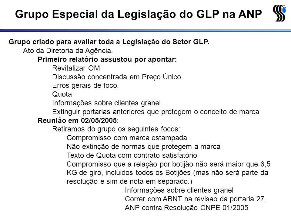 Grupo Especial da Legislação do GLP na ANP Grupo criado para avaliar toda a Legislação do Setor GLP. Ato da Diretoria da Agência. Primeiro relatório a