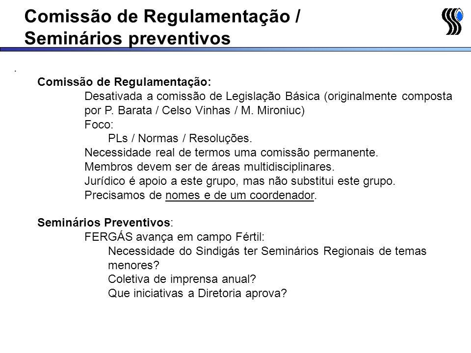 Reunião com FENAGÁS Reunião com FENAGÁS em 29/04/2005 na Copagáz: Agenda até Setembro/05 definida Representação legal da FENAGÁS Limite máximo - 15 de Junho de 2005 - Documentos serão apresentados ao Ministério do Trabalho com dados de todos os Sindicatos Filiados PR / GO / AM / RJ / PE / PB Limite máximo - Setembro de 2005 - Aprovação junto ao Ministério do Trabalho Seminários: 2a.