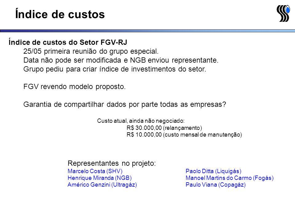 Índice de custos Índice de custos do Setor FGV-RJ 25/05 primeira reunião do grupo especial. Data não pode ser modificada e NGB enviou representante. G