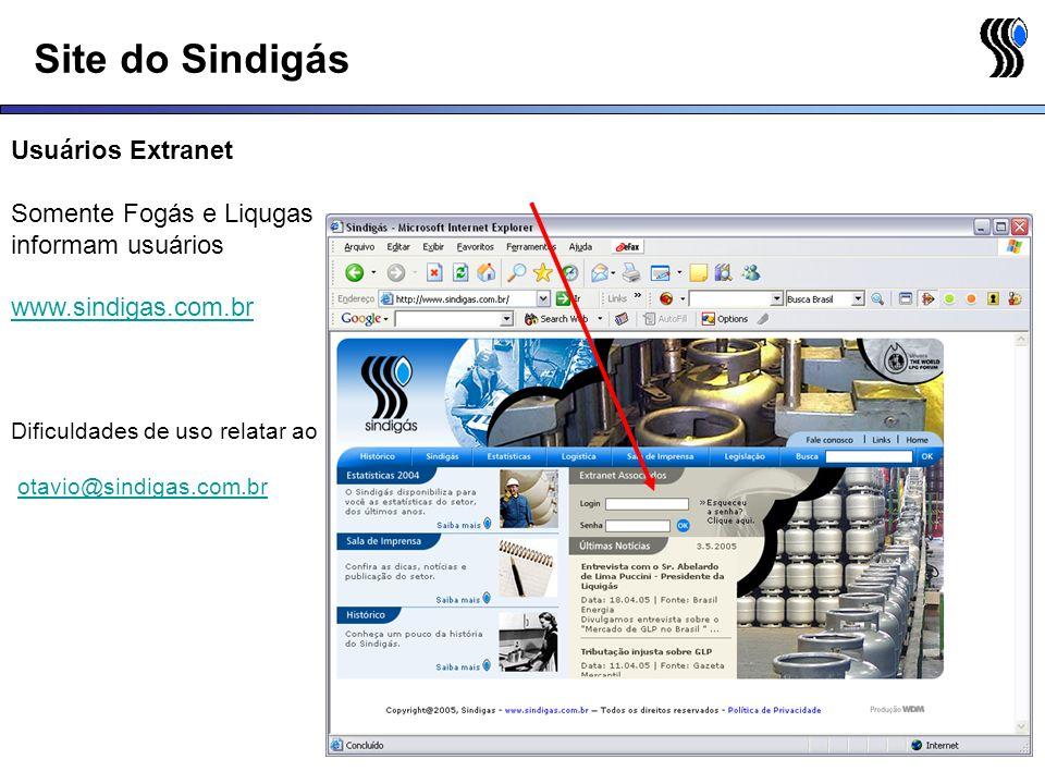 Site do Sindigás Usuários Extranet Somente Fogás e Liqugas informam usuários www.sindigas.com.br Dificuldades de uso relatar ao otavio@sindigas.com.br