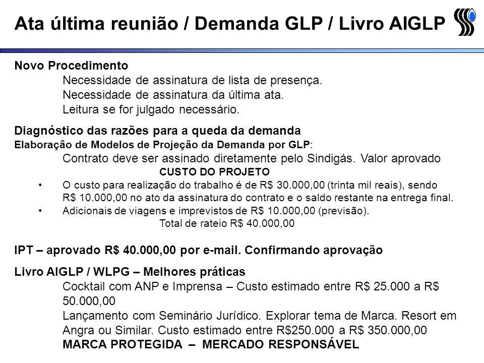 Ata última reunião / Demanda GLP / Livro AIGLP Novo Procedimento Necessidade de assinatura de lista de presença. Necessidade de assinatura da última a