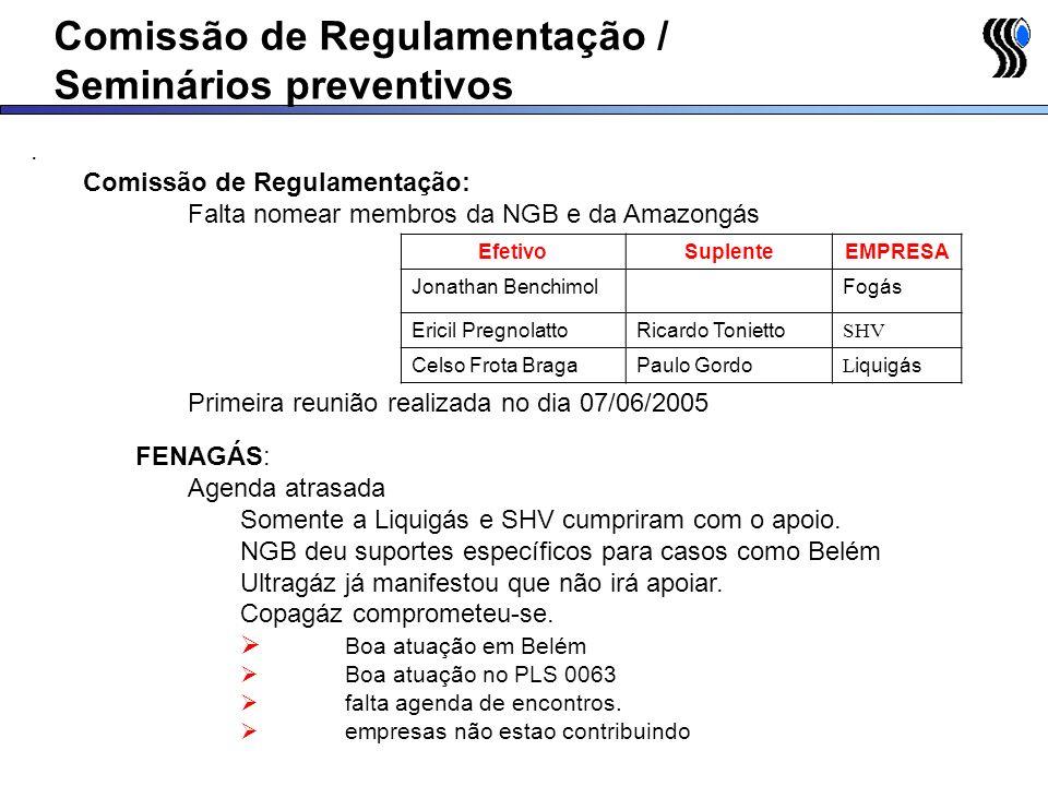 Comissão de Regulamentação / Seminários preventivos. Comissão de Regulamentação: Falta nomear membros da NGB e da Amazongás Primeira reunião realizada