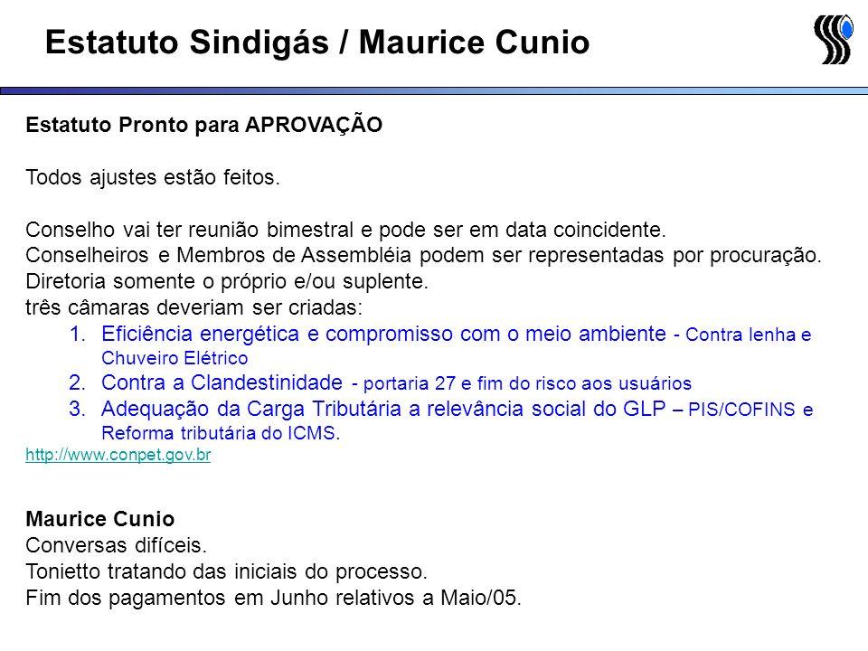 Estatuto Sindigás / Maurice Cunio Estatuto Pronto para APROVAÇÃO Todos ajustes estão feitos. Conselho vai ter reunião bimestral e pode ser em data coi