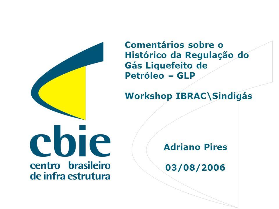 1 Comentários sobre o Histórico da Regulação do Gás Liquefeito de Petróleo – GLP Workshop IBRAC\Sindigás Adriano Pires 03/08/2006