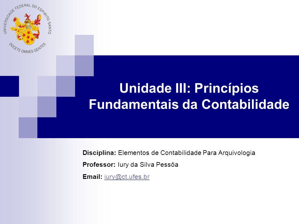 Princípios Fundamentais da Contabilidade Postulados Elementos básicos, em que se estruturam toda a contabilidade atual Princípios Regras básicas para aplicação da contabilidade Convenções Limitações e regras para aplicação dos postulados e dos princípios