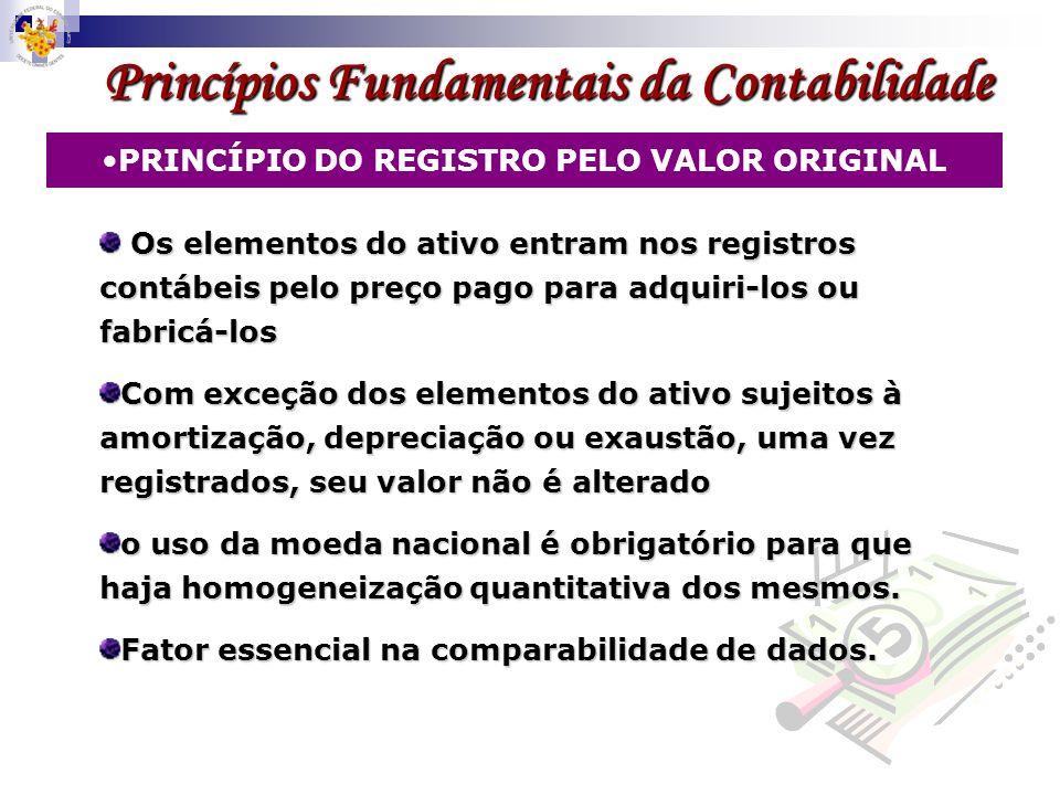 Princípios Fundamentais da Contabilidade PRINCÍPIO DO REGISTRO PELO VALOR ORIGINAL Os elementos do ativo entram nos registros contábeis pelo preço pag