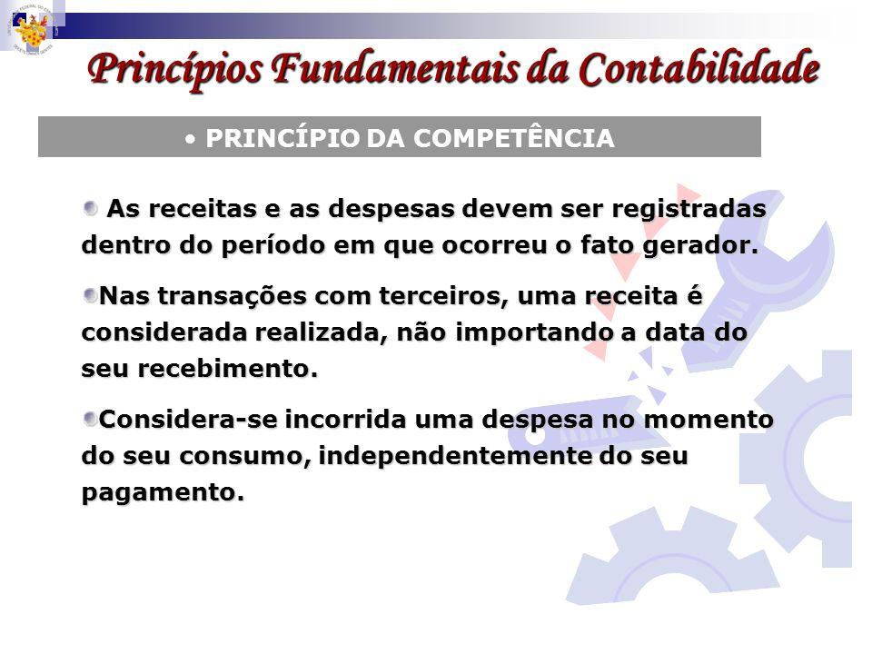 Princípios Fundamentais da Contabilidade PRINCÍPIO DA COMPETÊNCIA As receitas e as despesas devem ser registradas dentro do período em que ocorreu o f