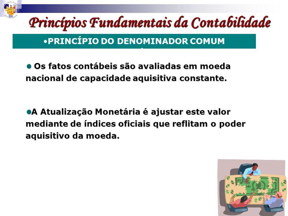 Princípios Fundamentais da Contabilidade PRINCÍPIO DO DENOMINADOR COMUM MONETÁRIO Os fatos contábeis são avaliadas em moeda nacional de capacidade aqu
