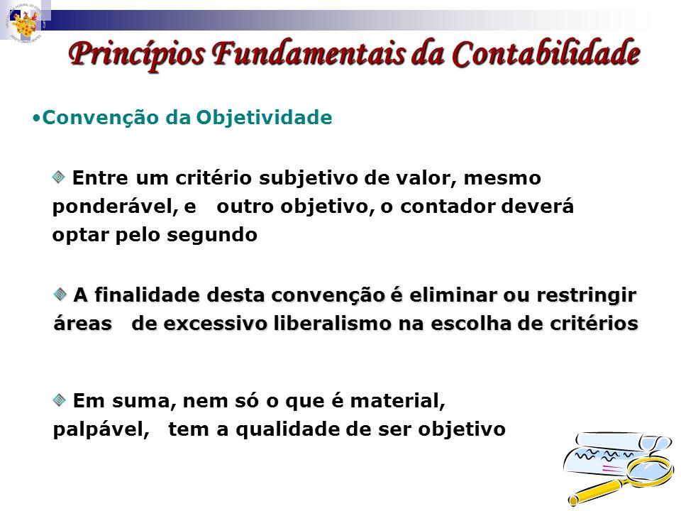 Princípios Fundamentais da Contabilidade Convenção da Objetividade A finalidade desta convenção é eliminar ou restringir áreas de excessivo liberalism