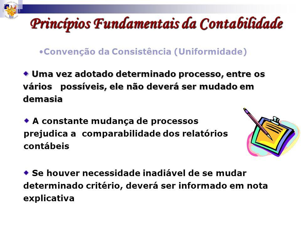 Princípios Fundamentais da Contabilidade Convenção da Consistência (Uniformidade) A constante mudança de processos prejudica a comparabilidade dos rel