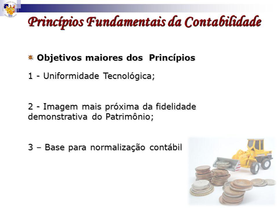 1 - Uniformidade Tecnológica; 2 - Imagem mais próxima da fidelidade demonstrativa do Patrimônio; 3 – Base para normalização contábil Objetivos maiores