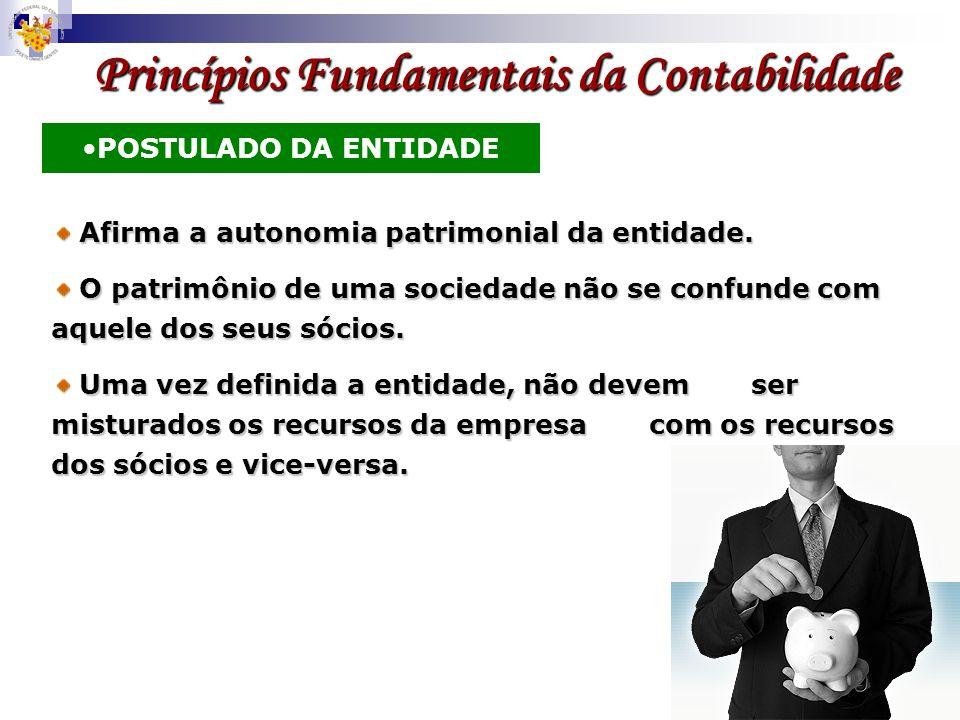 Princípios Fundamentais da Contabilidade POSTULADO DA ENTIDADE Afirma a autonomia patrimonial da entidade. Afirma a autonomia patrimonial da entidade.