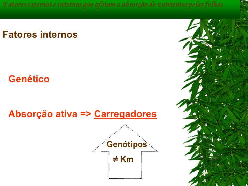 Fatores externos e internos que afetam a absorção de nutrientes pelas folhas Genético Absorção ativa => Carregadores Genótipos Km Fatores internos