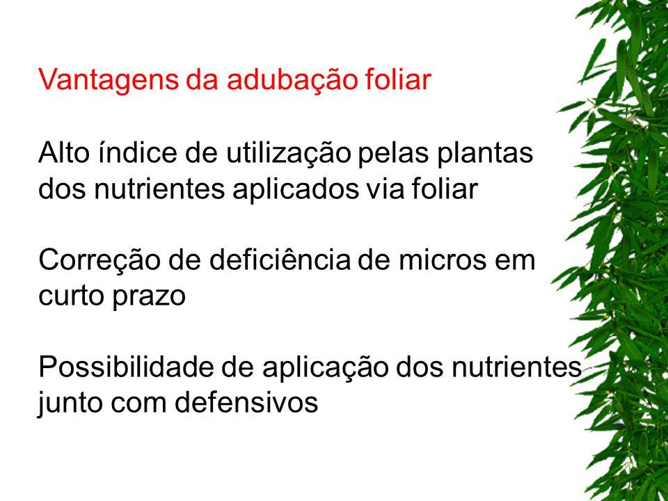 Vantagens da adubação foliar Alto índice de utilização pelas plantas dos nutrientes aplicados via foliar Correção de deficiência de micros em curto pr