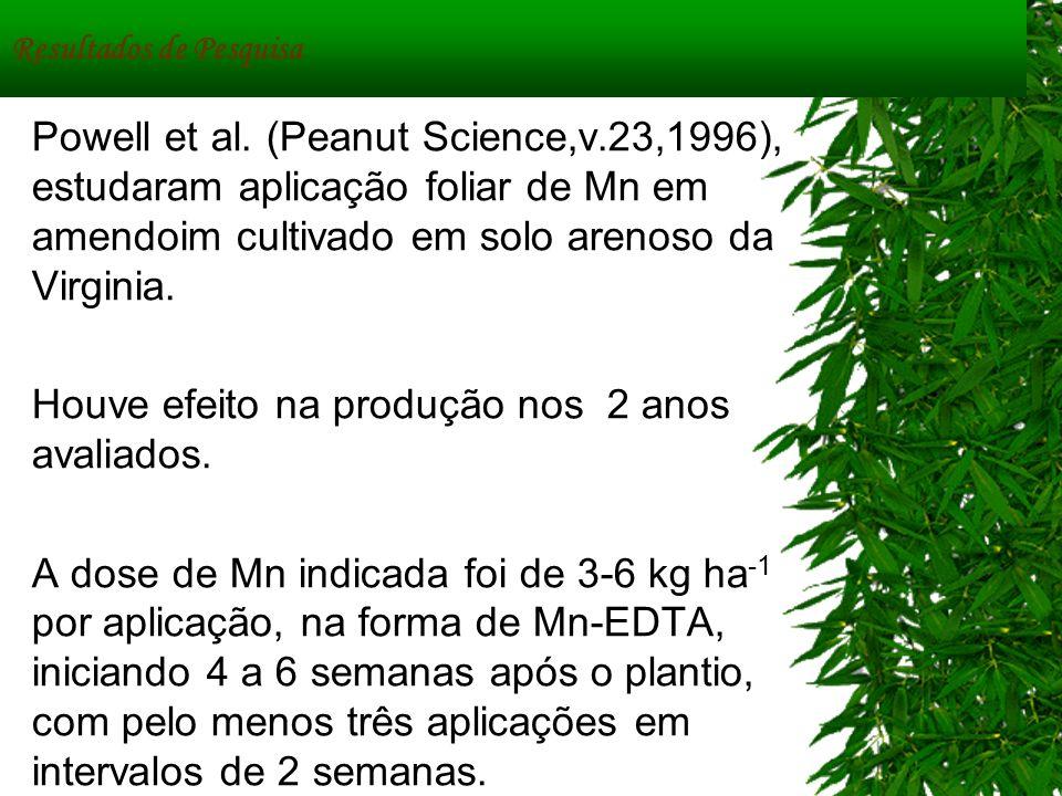Resultados de Pesquisa Powell et al. (Peanut Science,v.23,1996), estudaram aplicação foliar de Mn em amendoim cultivado em solo arenoso da Virginia. H