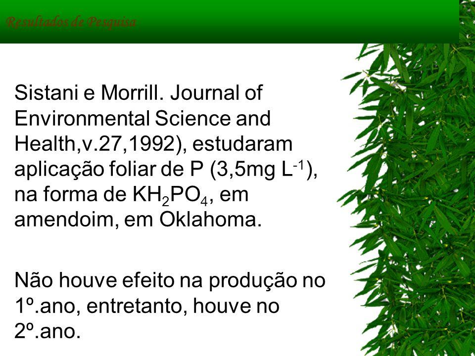 Resultados de Pesquisa Sistani e Morrill. Journal of Environmental Science and Health,v.27,1992), estudaram aplicação foliar de P (3,5mg L -1 ), na fo