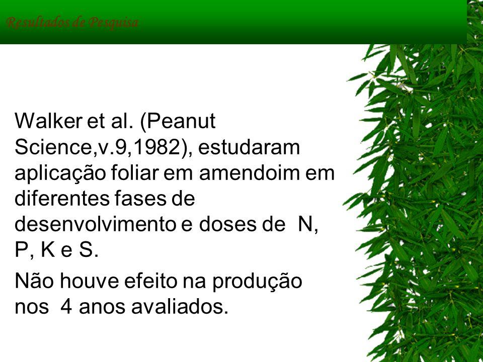 Resultados de Pesquisa Walker et al. (Peanut Science,v.9,1982), estudaram aplicação foliar em amendoim em diferentes fases de desenvolvimento e doses