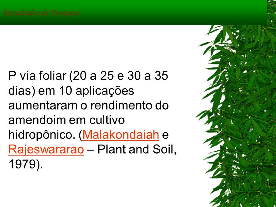 Resultados de Pesquisa P via foliar (20 a 25 e 30 a 35 dias) em 10 aplicações aumentaram o rendimento do amendoim em cultivo hidropônico. (Malakondaia