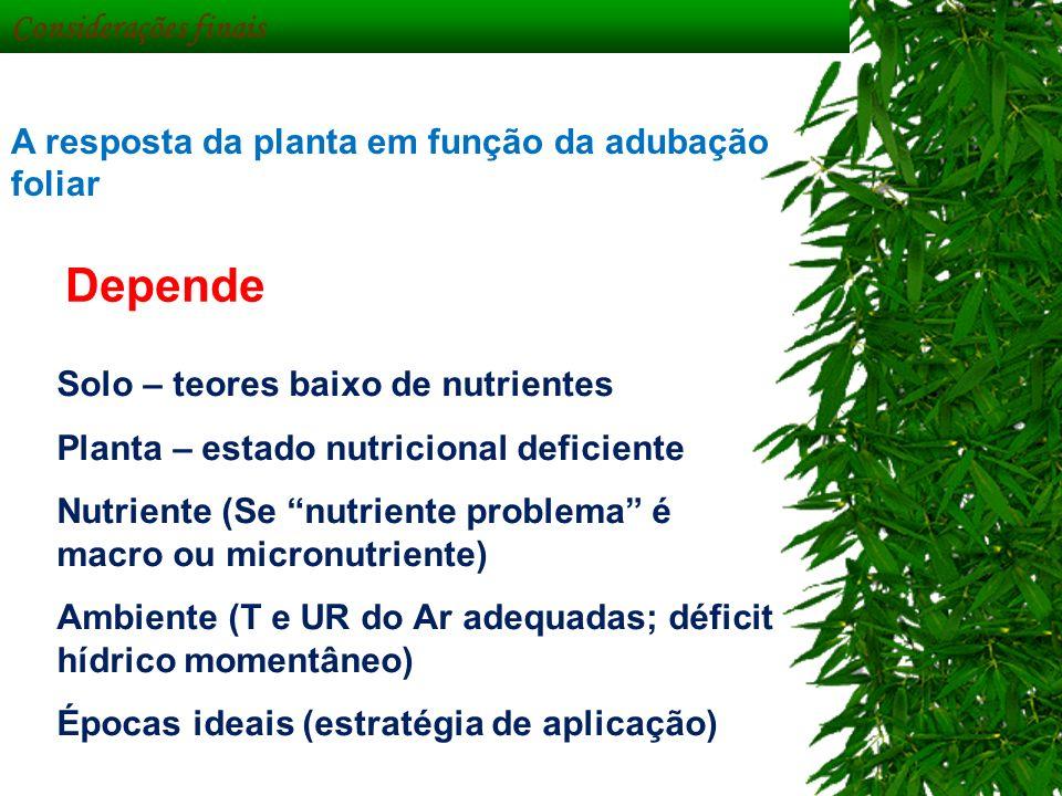 Considerações finais A resposta da planta em função da adubação foliar Depende Solo – teores baixo de nutrientes Planta – estado nutricional deficient