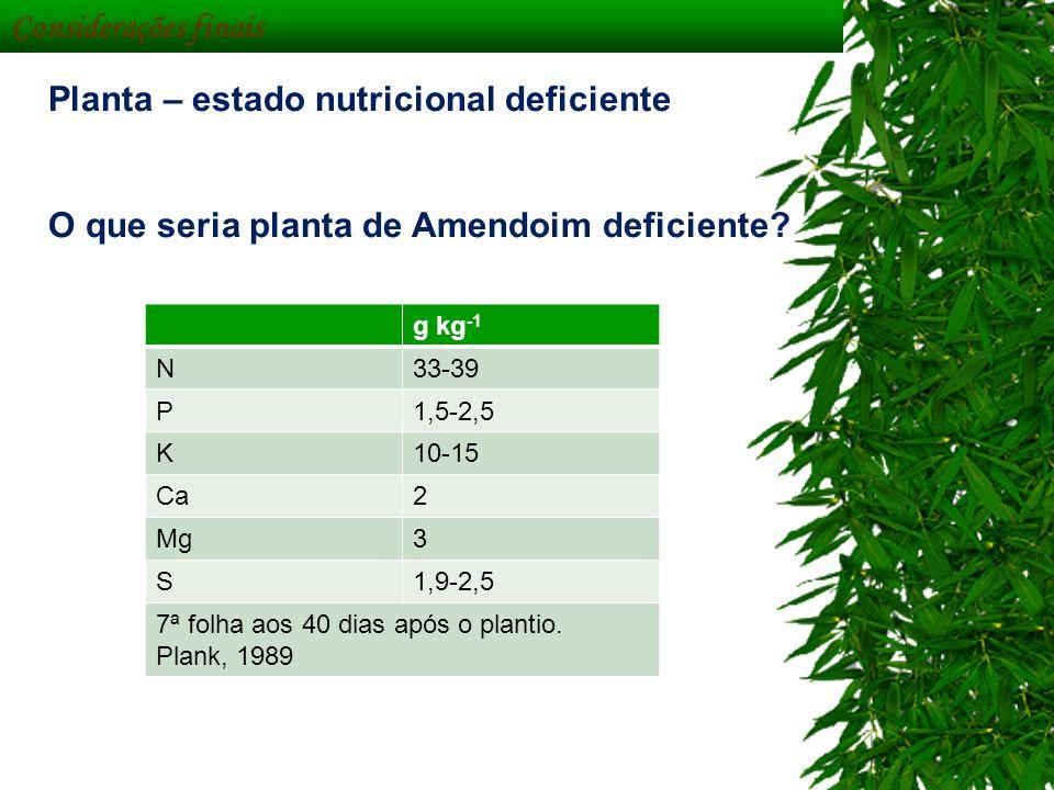 Considerações finais Planta – estado nutricional deficiente O que seria planta de Amendoim deficiente? g kg -1 N33-39 P1,5-2,5 K10-15 Ca2 Mg3 S1,9-2,5