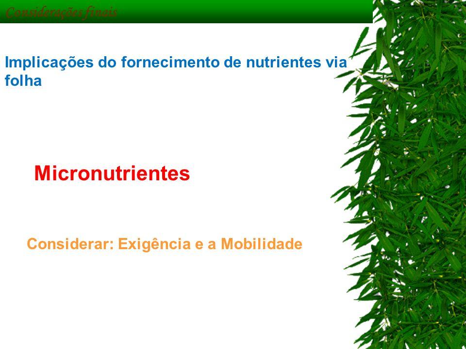 Considerações finais Implicações do fornecimento de nutrientes via folha Micronutrientes Considerar: Exigência e a Mobilidade