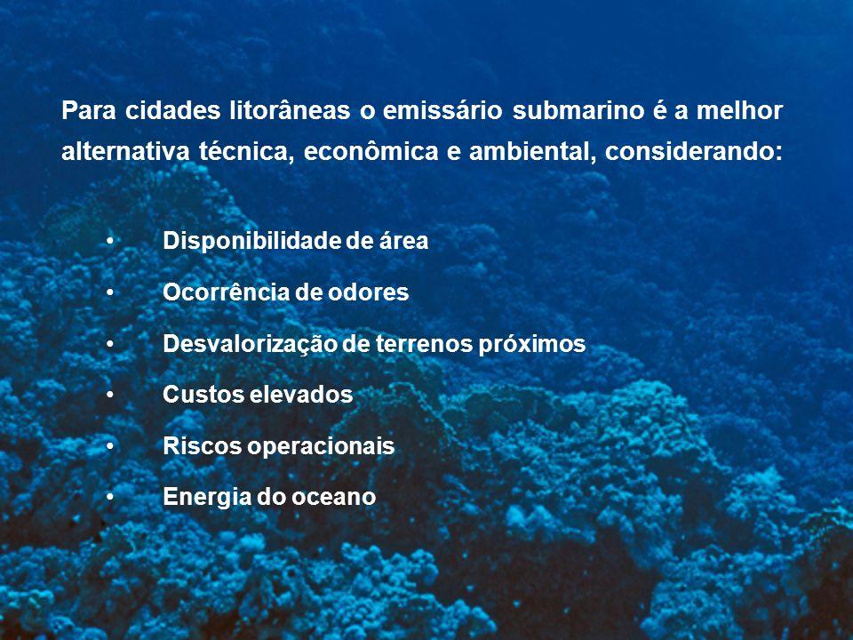 Para cidades litorâneas o emissário submarino é a melhor alternativa técnica, econômica e ambiental, considerando: Disponibilidade de área Ocorrência
