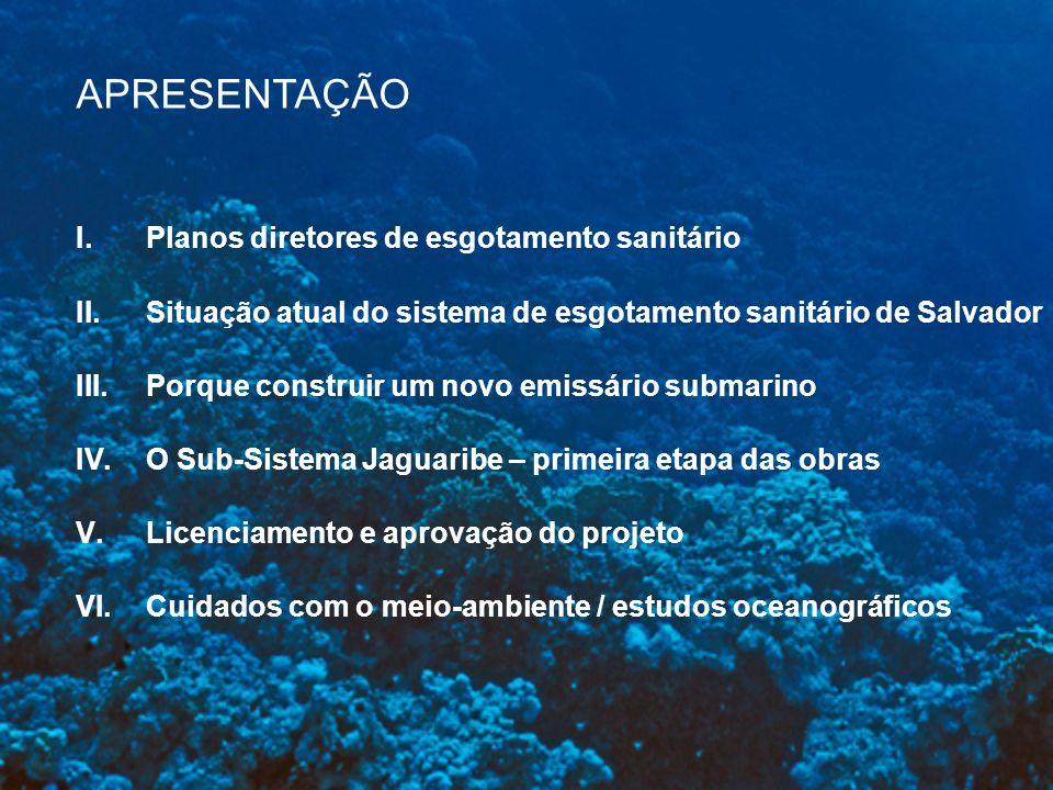 Para cidades litorâneas o emissário submarino é a melhor alternativa técnica, econômica e ambiental, considerando: Disponibilidade de área Ocorrência de odores Desvalorização de terrenos próximos Custos elevados Riscos operacionais Energia do oceano