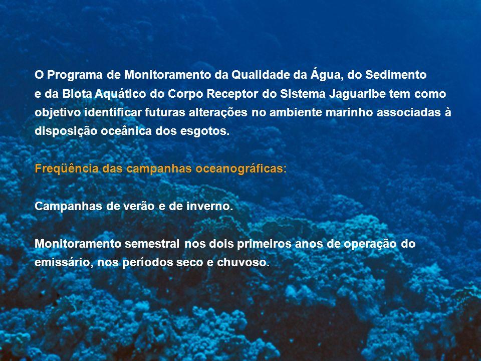O Programa de Monitoramento da Qualidade da Água, do Sedimento e da Biota Aquático do Corpo Receptor do Sistema Jaguaribe tem como objetivo identifica