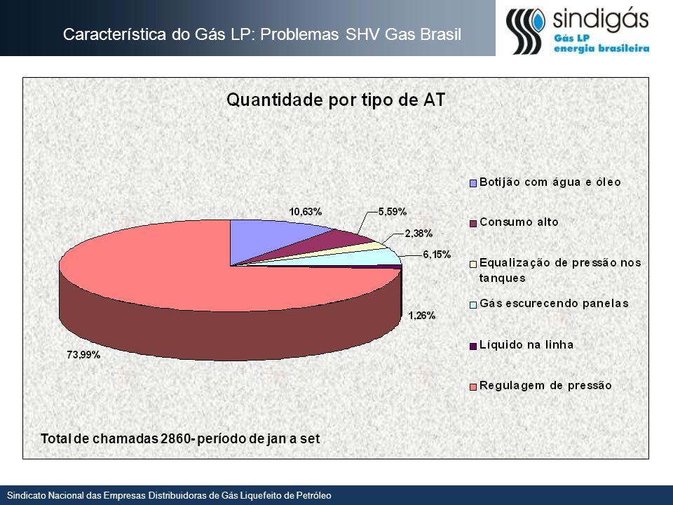 Sindicato Nacional das Empresas Distribuidoras de Gás Liquefeito de Petróleo Característica do Gás LP: Problemas SHV Gas Brasil Total de chamadas 2860- período de jan a set