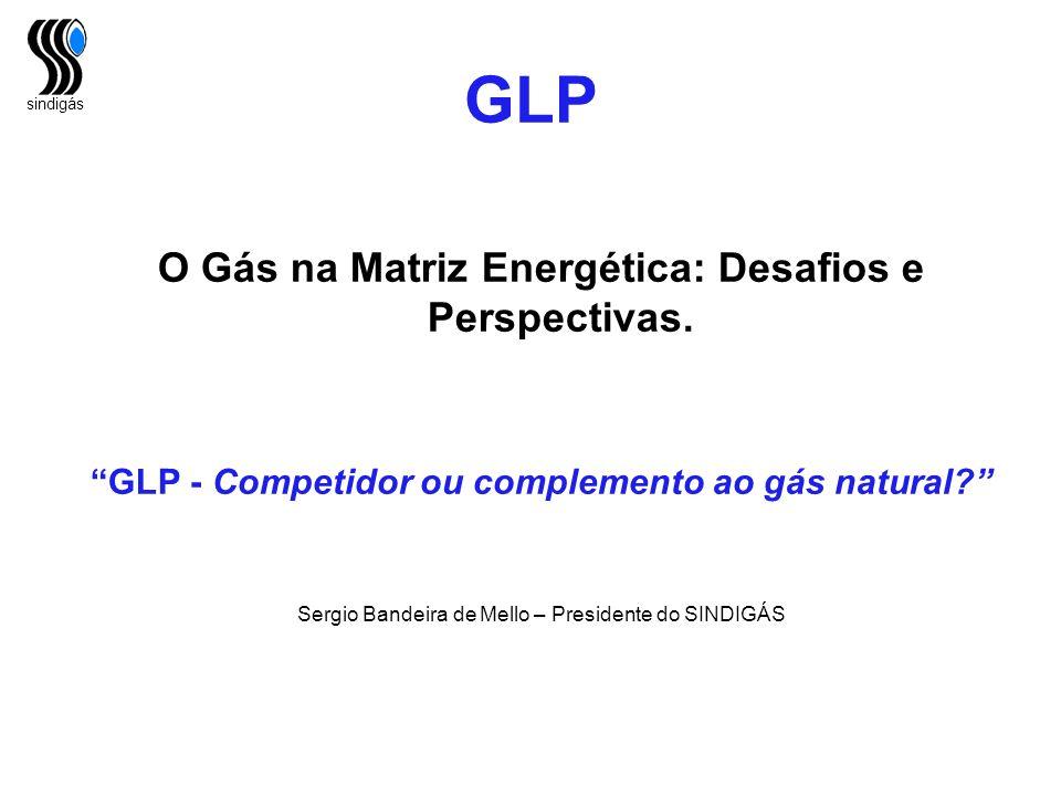 sindigás GLP O Gás na Matriz Energética: Desafios e Perspectivas. GLP - Competidor ou complemento ao gás natural? Sergio Bandeira de Mello – President