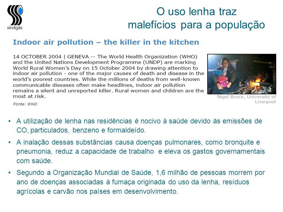sindigás O uso lenha traz malefícios para a população A utilização de lenha nas residências é nocivo à saúde devido às emissões de CO, particulados, b