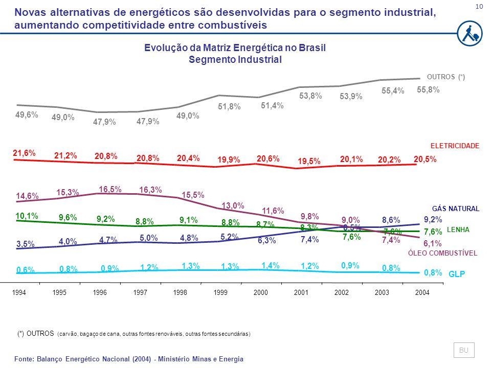 10 Fonte: Balanço Energético Nacional (2004) - Ministério Minas e Energia BU Novas alternativas de energéticos são desenvolvidas para o segmento indus