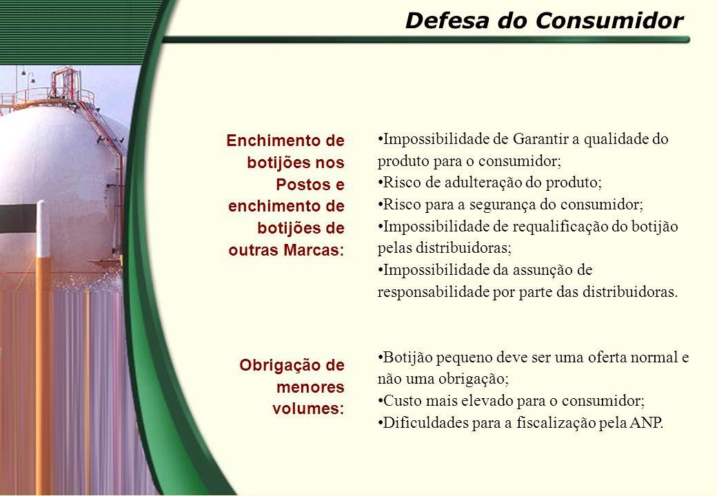 Defesa do Consumidor Enchimento de botijões nos Postos e enchimento de botijões de outras Marcas: Obrigação de menores volumes: Impossibilidade de Gar
