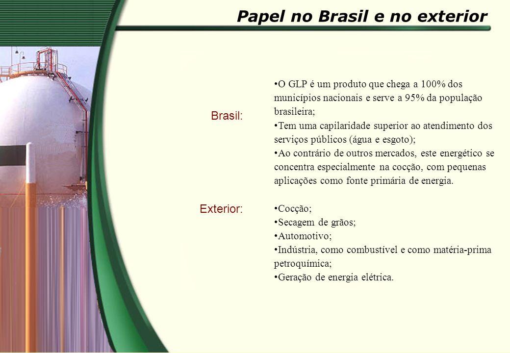 Brasil: Exterior: O GLP é um produto que chega a 100% dos municípios nacionais e serve a 95% da população brasileira; Tem uma capilaridade superior ao
