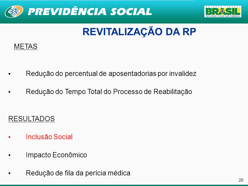 28 REVITALIZAÇÃO DA RP METAS Redução do percentual de aposentadorias por invalidez Redução do Tempo Total do Processo de Reabilitação RESULTADOS Inclu