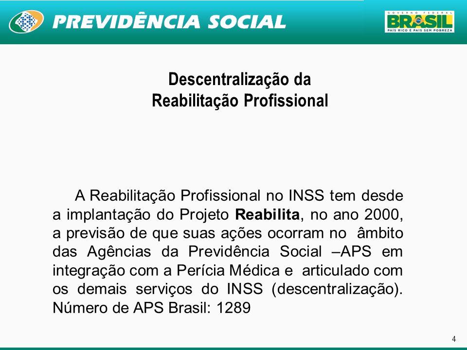 4 Descentralização da Reabilitação Profissional A Reabilitação Profissional no INSS tem desde a implantação do Projeto Reabilita, no ano 2000, a previ