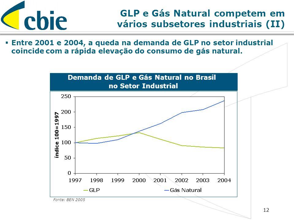 12 Demanda de GLP e Gás Natural no Brasil no Setor Industrial Fonte: BEN 2005 Entre 2001 e 2004, a queda na demanda de GLP no setor industrial coincid