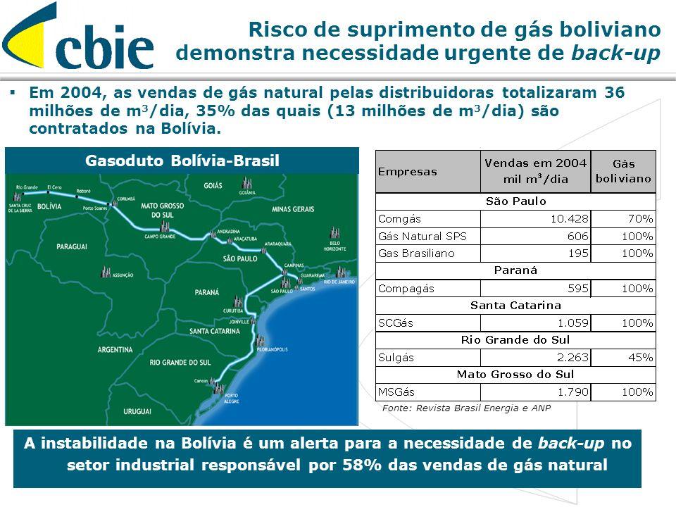 18 Risco de suprimento de gás boliviano demonstra necessidade urgente de back-up Gasoduto Bolívia-Brasil Em 2004, as vendas de gás natural pelas distr