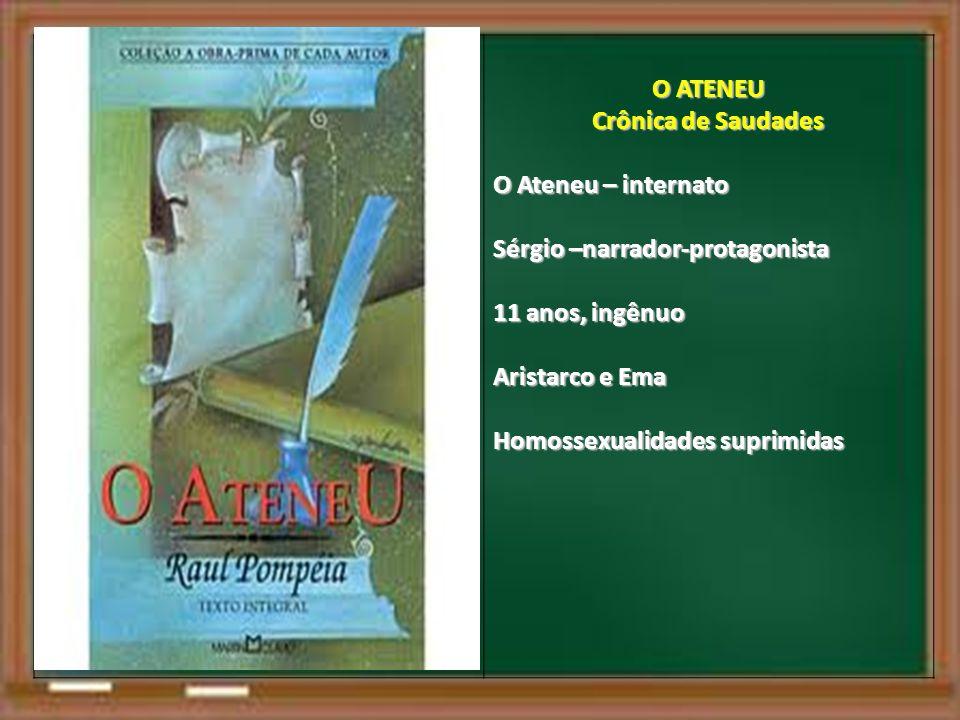 O ATENEU Crônica de Saudades O Ateneu – internato Sérgio –narrador-protagonista 11 anos, ingênuo Aristarco e Ema Homossexualidades suprimidas