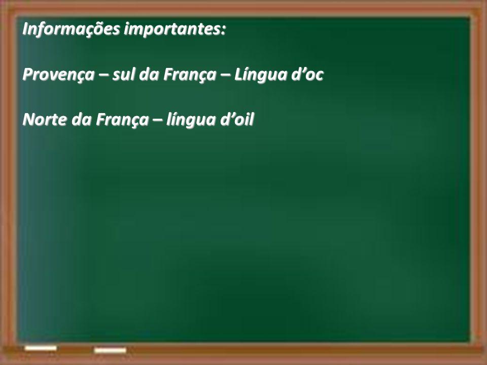 Informações importantes: Provença – sul da França – Língua doc Norte da França – língua doil