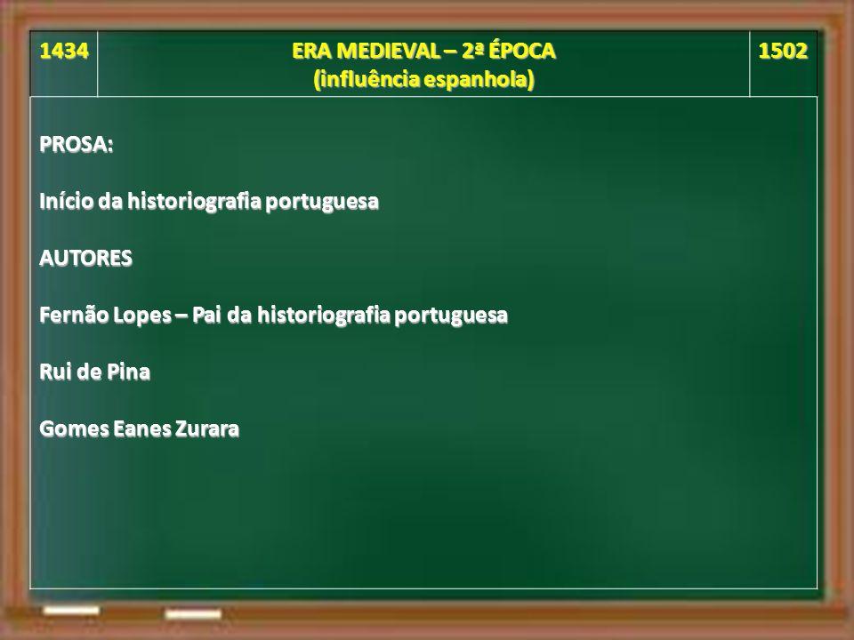 1434 ERA MEDIEVAL – 2ª ÉPOCA (influência espanhola) 1502PROSA: Início da historiografia portuguesa AUTORES Fernão Lopes – Pai da historiografia portuguesa Rui de Pina Gomes Eanes Zurara