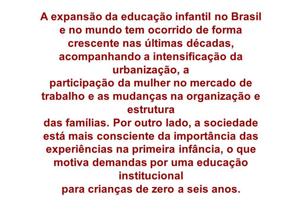 A expansão da educação infantil no Brasil e no mundo tem ocorrido de forma crescente nas últimas décadas, acompanhando a intensificação da urbanização